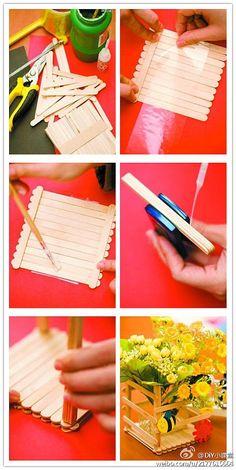 DIY Popsicle Stick Vase DIY Projects