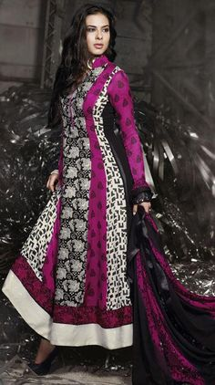$61.04 Pink Cotton Printed Long Anarkali Style Salwar Kameez 25462