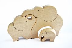 Elephants Family  Wooden Puzzle  Handcut Wooden by WoodAndYarnToys