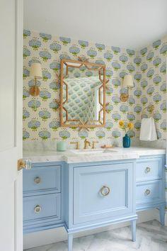 Bamboo Trellis, Painted Vanity, Bamboo Mirror, Transitional Bathroom, Bathroom Kids, Girl Bathroom Decor, Bath Remodel, Bathroom Interior Design, Beautiful Bathrooms