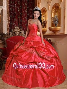 Coral Red Strapless Quinceanera Gown in Taffeta with Beading