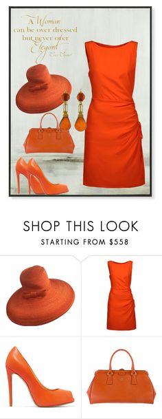 """Little Orange Dress"" by jostockton ❤ liked on Polyvore featuring Chanel, Paul Frank, Moschino, Giuseppe Zanotti and Prada"