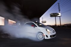 """2013 Fiat 500 Abarth doing a burnout, or """"hooning"""" as my friends across the pond would say..."""