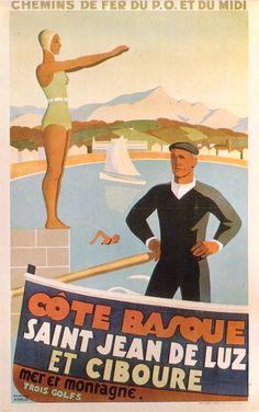 Saint Jean de Luz et Ciboure , Cote Basque France . Vintage travel beach pooster art deco plage affiche essenzadiriviera www.varaldocosmetica.it/en