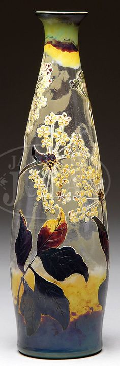 """✨Lambert fluogravure vase 'St Malo' has cameo flowers, stems and leaves against a clear textured background. The fluogravure process, which uses enamels, to heighten the glass coloration gives a wonderful autumn feel to the vase. Vase is signed on the side in cameo """"VSL""""✨"""