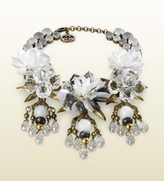 Gucci Jewelry | Gucci Necklace with White Flowers Motif in White
