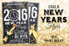 Chalk New Years Eve Flyer by Lucion Creative on Creative Market