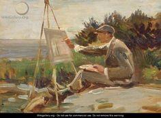"""An Artist Painting Near Lamorna, Cornwall"" by Sir Alfred James Munnings"