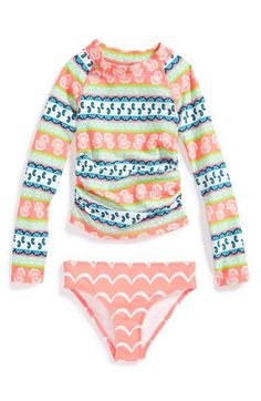 Tucker + Tate Two-Piece Rashguard Swimsuit (Toddler Girls, Little Girls & Big Girls) available at #Nordstrom