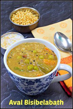Aval Bisibelabath Recipe | Poha Bisibelabath Recipe Breakfast For Dinner, Breakfast Dishes, Breakfast Recipes, Bath Recipes, Kitchen Recipes, Cooking Recipes, Indian Food Recipes, Ethnic Recipes, Biryani