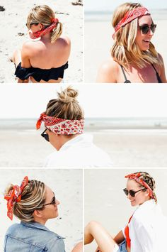 5 Ways To Wear A Bandana Scarf In Your Hair When it comes to summer hairstyles, this little paisley-printed scarf will be a lifesaver! Keep reading to see how to wear a bandana scarf in your hair Ways To Wear Bandanas, How To Wear Bandana, Bandana Outfit, How To Wear Scarves, Hair Scarf Styles, Bandana Styles, Curly Hair Styles, Scarf In Hair, Hair Scarfs