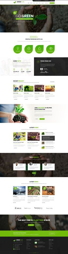 Buy Greenture - Environment / Non-Profit PSD Template by CreativeGigs on ThemeForest. Greenture is professional, modern crafted PSD template which can be used for Eco, Environment, Nature and related to . Website Layout, Web Layout, Layout Design, Flat Design, Design Design, Design Ideas, Mise En Page Web, Beautiful Website Design, Green Web