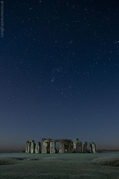 Orion's constellation above Stonehenge, England