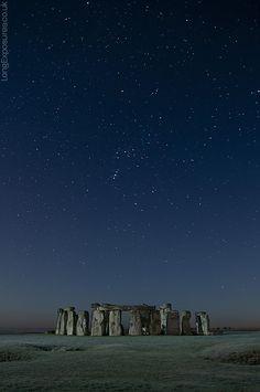 Orion's constellation above Stonehenge, England