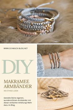 DIY Makramee Armband Anleitung – knüpfe Dein eigenes Flechtarmband mit dieser e… DIY Macrame Bracelet Instructions – make your own braided bracelet with this simple. Diy Jewelry Unique, Diy Jewelry To Sell, Diy Jewelry Holder, Diy Jewelry Making, Macrame Bracelet Diy, Macrame Jewelry, Beaded Bracelets, Macrame Bag, Macrame Knots
