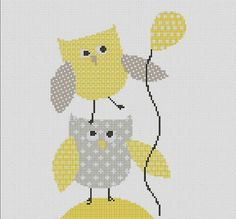 Counted Cross Stitch Pattern, Nursery Art, New Baby, Animals, Owl, Instant PDF Download