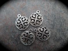 Small Clover Heart charms Silver Finish by BeadClearanceDepot