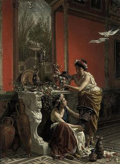 Cesare Mariani (1826-1901), The flowers maidens (1874)
