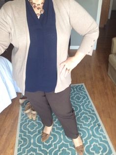 Taupe Cardigan, Navy Blouse and Brown Pants ... Anne Klein Suede Pumps with Kitten Heels