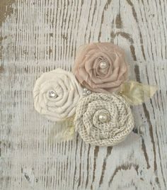 Handmade Fabric Rosette Flowers - Ivory Burlap, Cream Fabric, Champagne Organza, Gold Leaves - Wedding Corsage on Etsy, $33.00