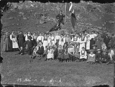 """National day celebrations in Stongfjorden.   Original caption: """"17 Mai i Stangfjord"""" (The 17th of May in Stangfjord).   Photographer: Paul Stang."""