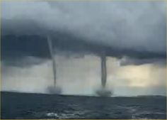 Twin Tornadoes at Sea - Video Sea Storm, Rain Storm, Storm Clouds, Tornadoes, Thunderstorms, Tornado Pictures, Tornado Alley, Cloud Lights, Take Shelter
