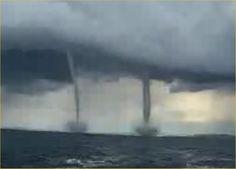 Twin Tornadoes at Sea - Video Sea Storm, Rain Storm, Storm Clouds, Tornadoes, Thunderstorms, Tornado Pictures, Sea Video, Tornado Alley, Cloud Lights