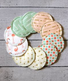 This 10-Piece Mint & Peach Reusable Nursing Pad Set is perfect! #zulilyfinds