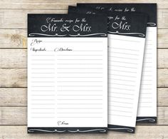 INSTANT DOWNLOAD Bridal Shower Recipe Card for the Mr. & Mrs.
