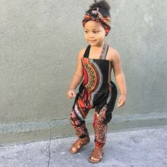 African Ankara Dashiki Print Jumpsuit Outfit - Baby Girl Toddler Kids - sizes - Black Dashiki - Jumpsuits and Romper Baby African Clothes, African Dresses For Kids, African Children, Latest African Fashion Dresses, African Print Fashion, African Prints, Ankara Fashion, Cute Kids Fashion, Little Girl Fashion
