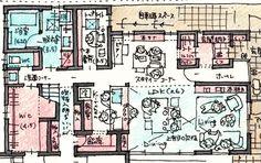 リビング部分を和室に スタディスペースをダイニングに Sims House Design, Apartment Layout, Architecture Plan, House Plans, New Homes, Floor Plans, How To Plan, Rendering Techniques, House Floor Plans