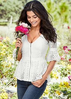 Spring is in full bloom! Venus zip up lace top. Lace Tops, Floral Tops, Long Sweater Dress, Sweater Layering, Printed Maxi Skirts, Floral Print Maxi Dress, Chic Outfits, Dress To Impress, Fashion Looks