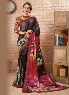 Buy latest designer saree collection online. Customization and free shipping worldwide. Grab this georgette multi colour casual saree.