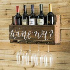 Gracie Oaks Mccandless 5 Bottle Wall Mounted Wine Bottle and Glass Rack Wood Wine Racks, Wine Rack Wall, Pallet Wine Rack Diy, Diy Wine Racks, Wine Rack From Pallets, Diy Pallet, Pallet Furniture Wine Rack, Homemade Wine Racks, Corner Wine Rack