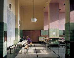 life on sundays; very cafeteria like with pink columns, green tile, linoleum floor with wooden basketball court accents Cafe Interior, Interior And Exterior, Interior Design, Deco Restaurant, Restaurant Design, Decoration Inspiration, Interior Inspiration, Pastel Interior, Cafe Design