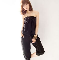 76fe120c8f Korea Girls Lovely Bow Strapless Jumpsuit Rompers Casual Cropped Pants  Trousers