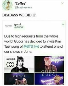 Oh ma gawd. YES! Well done, ARMY. Gucci is so going to profit from this and Tae is going to be the happiest guy on Earth. Can't wait!