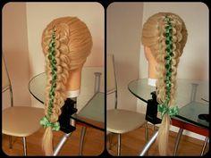 Коса вытянутая + коса однопрядная с лентой.Видео-урок. - YouTube