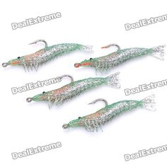 Color: Green + silver - Material: Soft PVC - Lifelike shrimp style with one single hook - Water depth: Bottom - Great for fishing channel catfish, weever, airbreathing catfish, mandarin fish, cuttlefish etc. - 4 pieces per pack  http://j.mp/1rMLzvb