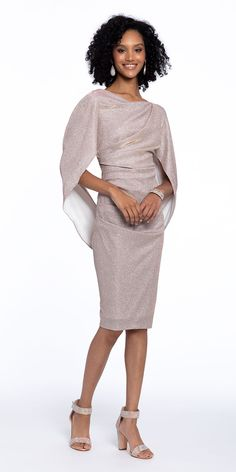Metallic Knit Midi Drape Back Dress Wedding Guest Style, Knee Length Cocktail Dress, Perfect Pink, Box Bag, Dress Backs, Special Occasion Dresses, Mother Of The Bride, Perfect Wedding, Block Heels