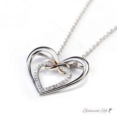 Anhänger Infinity Herz mit Zirkonias mit Rosegold Teil vergoldet