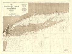 """Vintage 1896 Nautical Chart of Long Island Sound by AtomicPhoto $130 30x40"""""""