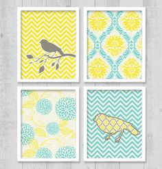 "Bird Damask Chevron Digital Printable Wall Art Print 8""x10"" Set (Jpeg Files) - V202. $10.00, via Etsy."