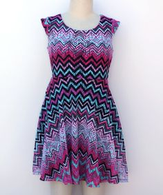 Take a look at this Black & Purple Chevron Skater Dress - Girls today!