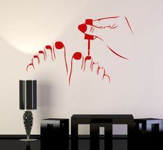 Vinyl Wall Decal Pedicure Beauty Salon Nail Art Stickers Murals Source by rubygibson Nail Salon Design, Nail Salon Decor, Salon Art, Beauty Salon Decor, Nail Art Stickers, Vinyl Wall Stickers, Wall Decal Sticker, Custom Wall, Decoration