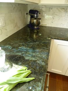 Labradite Lemurian Blue Granite Green Countertops Gemstone Kitchen