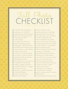 Fall #Photography Checklist