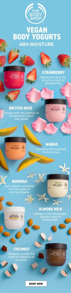 Almond Milk Body Yogurt - Speed up your routine with our new range of vegan Body Yogurts. They absorb in seconds and work - The Body Shop, Body Shop At Home, Body Shop Skincare, Body Shop Products, Beauty Products, Organic Almond Milk, Vegan Shopping, Skin Mask, Bath And Body Works