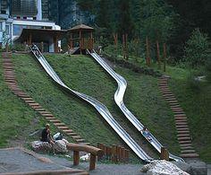 Jupiter Play: FHS Holztechnik Double Embankment Slide 9022570200 1 of 1 Backyard Slide, Backyard Playground, Backyard Patio, Playground Slides, Landscape Architecture, Landscape Design, Hillside Deck, Steep Gardens, Landscaping On A Hill