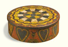 LOT SOLD. $209,000 USD Rare polychrome painted pine and maple round box with heart decorations, George Robert Lawton (1813 - 1885), Scituate, Providence County, Rhode Island. Visual Grace: Important American Folk Art from the Collection of Ralph O. Esmerian